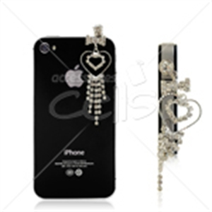 "Picture of 3.5"" Heart Rhinestone Pendant Ear Cap"